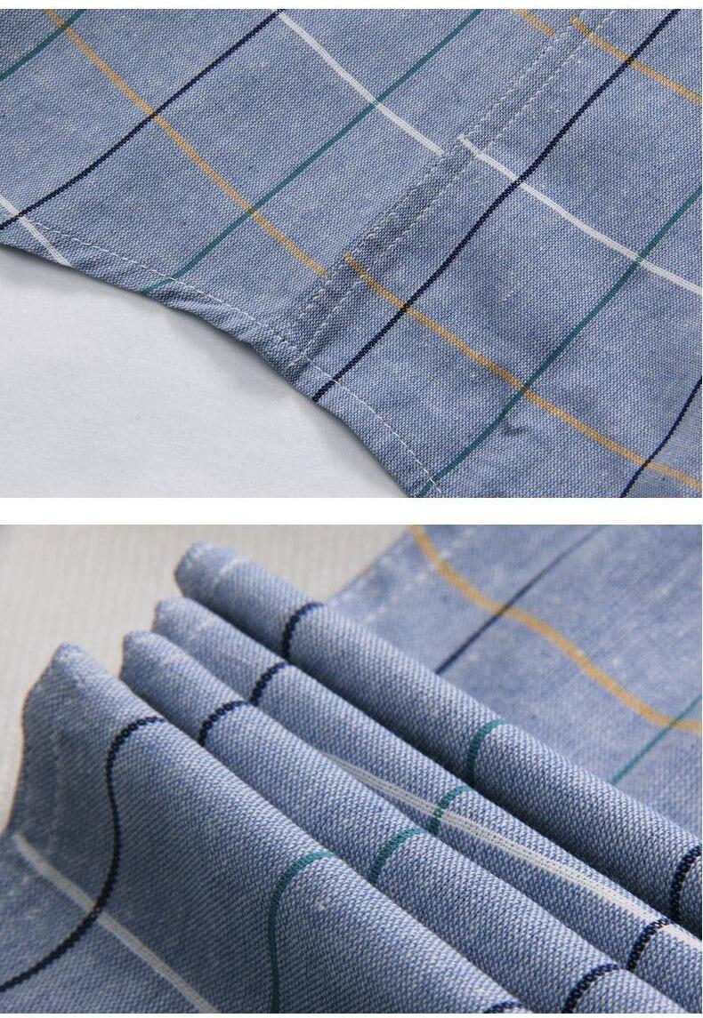Plaid shirts Men 19 New Fashion 100% Cotton Short Sleeved Summer Casual Men Shirt camisa masculina Mens Dress Shirts 3