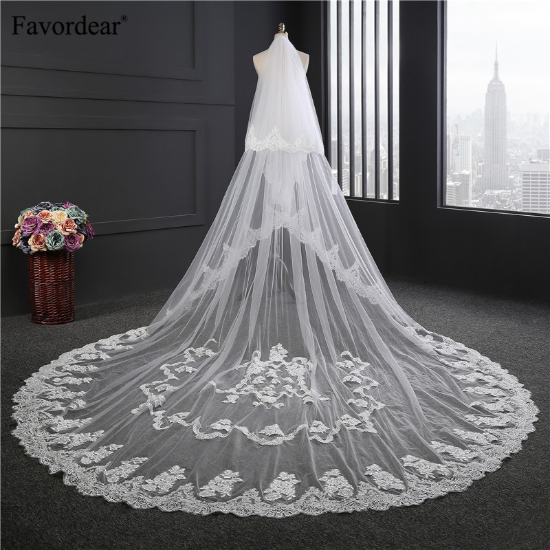 Favordear Top Quality 3 5m Bridal Veil 2 Layer Cathedral Wedding Veil With Blusher Lace Edge