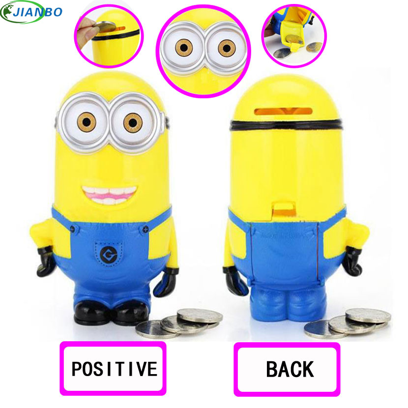 Minion Lovely Cartoon Figures Safe For Money Box Plastic Piggy Bank Saving Coin Cent Penny Children Toy Baby Security Secret Box