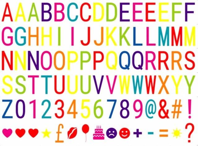 Kleurrijke Letters Symbolen & Glyphs Kaarten VOOR a4 Cinema Lightbox, Letters Pack van LED Filmische lichtbak