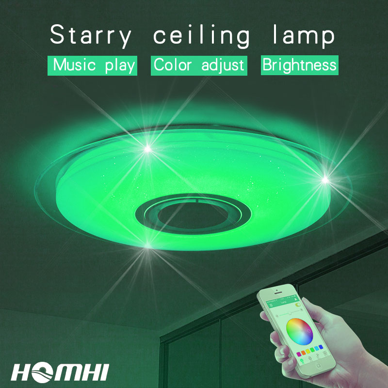 52w Modern Music LED ceiling lamp for bedroom Decoration home light kids children room Blue light starry sky light fixtures