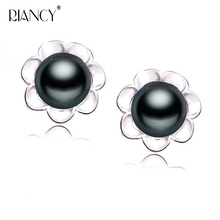 2019 New Fashion 7-8mm Natural Freshwater black Pearl Stud Earings 925 Sterling Silver Jewelry  For Women gift