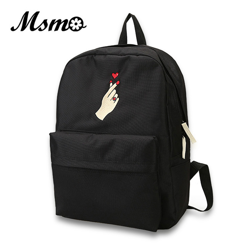 MSMO Finger Heart Backpack Cute Women Men Canvas Rose Embroidery Backpacks for Teenagers Women's Travel Bags Rucksack School Bag msmo 2017 new kpop exo canvas backpack sacks women men student school bags for girl boy casual travel exo bags
