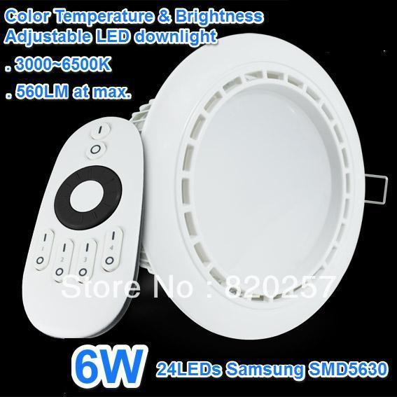 free shipping 6W led downlight 3000-6500K Color Temperature & Brightness adjustable With 2.4GHz Remote Controller