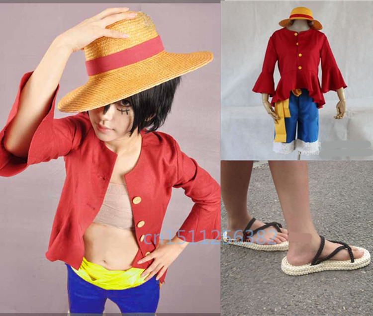 Free shipping Japanese anime One piece Luffy cosplay costume (Hat + shirt + trousers + shoes) Hot sale hot anime cat yellow cosplay hat cap costume accessory cartoon adult lovers hat winter totolo hat female ear plush animal hat