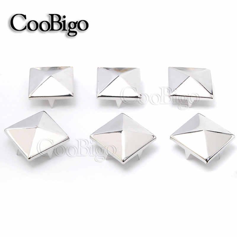 10 piezas de 20mm tachuelas de pirámide remaches de puntas de clavos Punk Rock cuero pulseras DIY bolsa de ropa zapatos cinturón accesorios de ropa