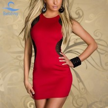 Bebling New 2015 Ladies' Sexy Women's vestido de renda Summer Black Red Patchwork Party Clubwear Bodysuit bodycon dress 19-134