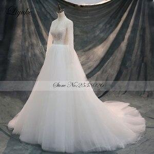 Image 2 - Liyuke Vintage yumuşak tül yüksek yaka tam kollu A Line düğün elbisesi mahkemesi tren boncuk kristaller inciler gelinlik