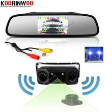 Koorinwoo Car Parking Sensors Backup Auto Rear View Camera Radars with 4 3 inch Car TFT