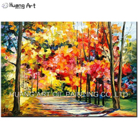 Hand Painted Modern Knife Tree Road Landscape Oil Painting on Canvas Autumn Scenery Painting for Living Room Wall Decor Art