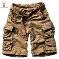 Com Cinto Casual Mens Shorts de Carga Multi-bolsos Calções 2016 Verão Plus Size Exército Cáqui Verde Militar Tático Curto