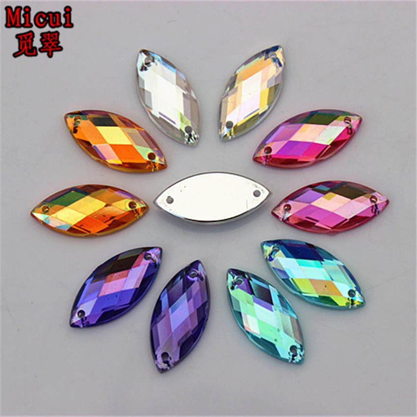 Micui 100PCS 9*20mm AB Color Acrylic Rhinestones Sew On Crystal Flatback Horse Eye Gems Stones For Clothes Dress Crafts ZZ329