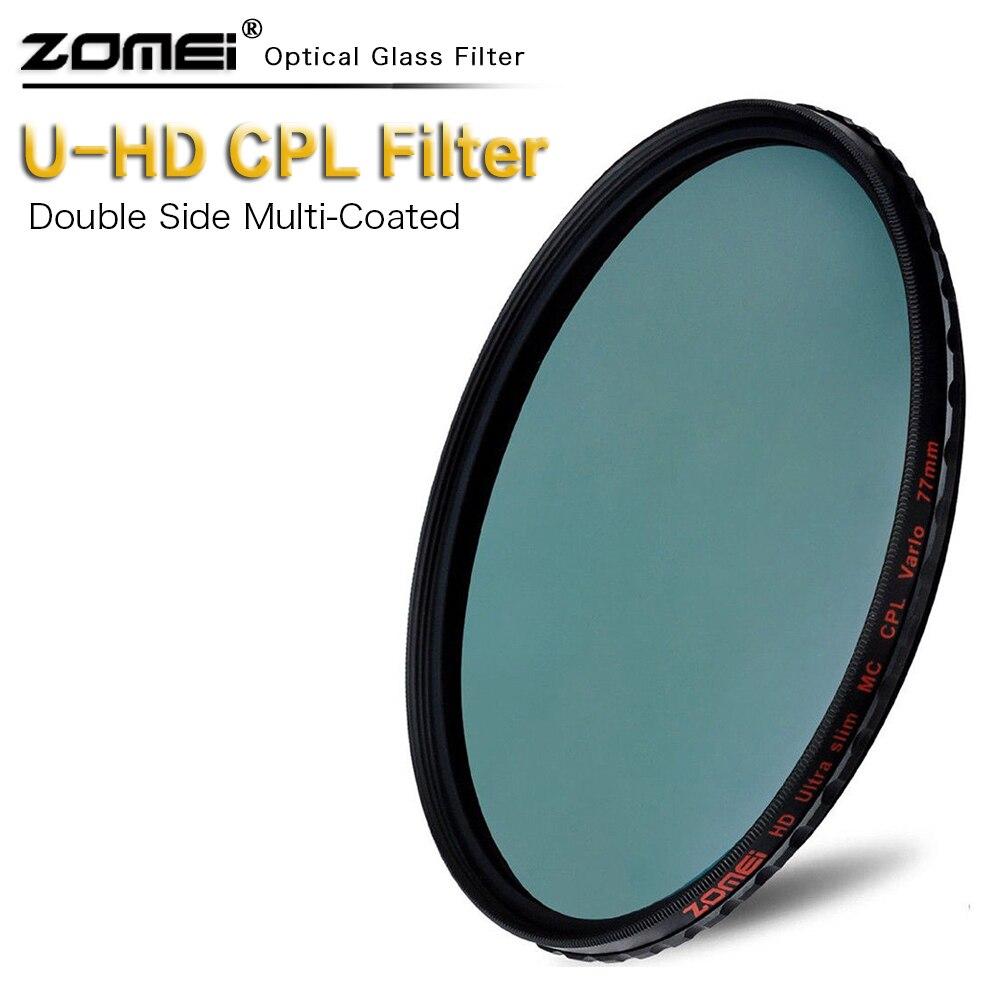 Trasporto libero zomei Slim HD CPL filtro di Vetro 49mm 52mm 55mm 58mm 62mm 67mm 72mm 77mm 82mm Polarizzazione Circolare Polarizzatore Per obiettivo della fotocamera DSLR