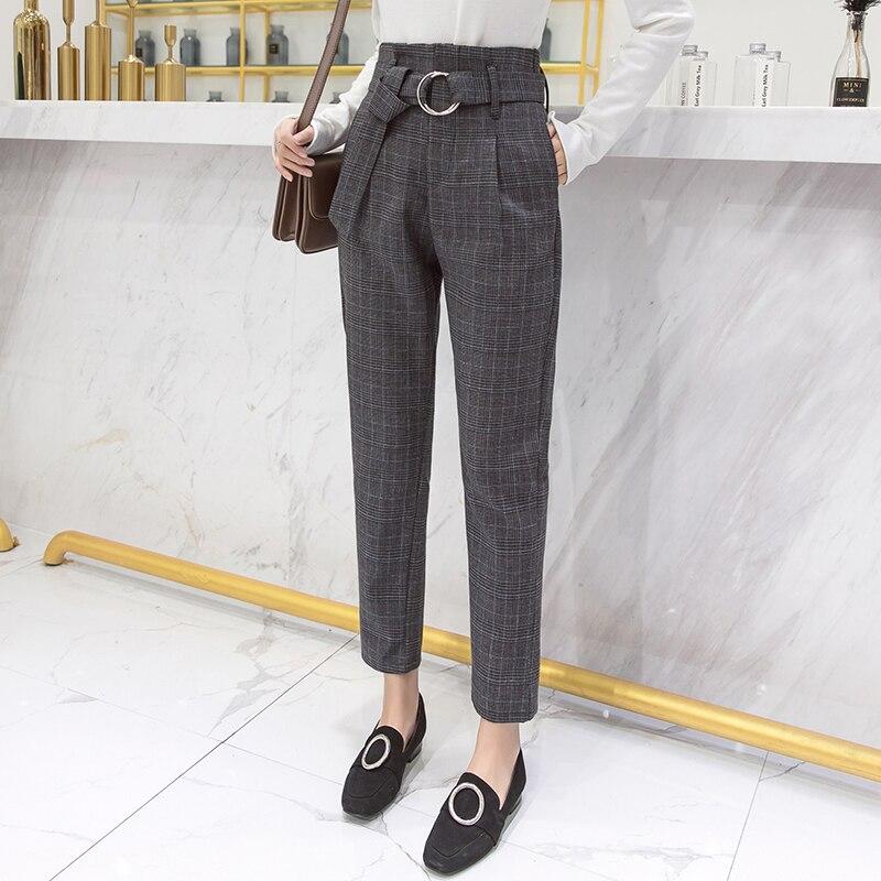 2019 Autumn Winter Plaid Pants Women Streetwear High Waist Harem Pants With Belt Plus Size Trousers Pantalon Femme