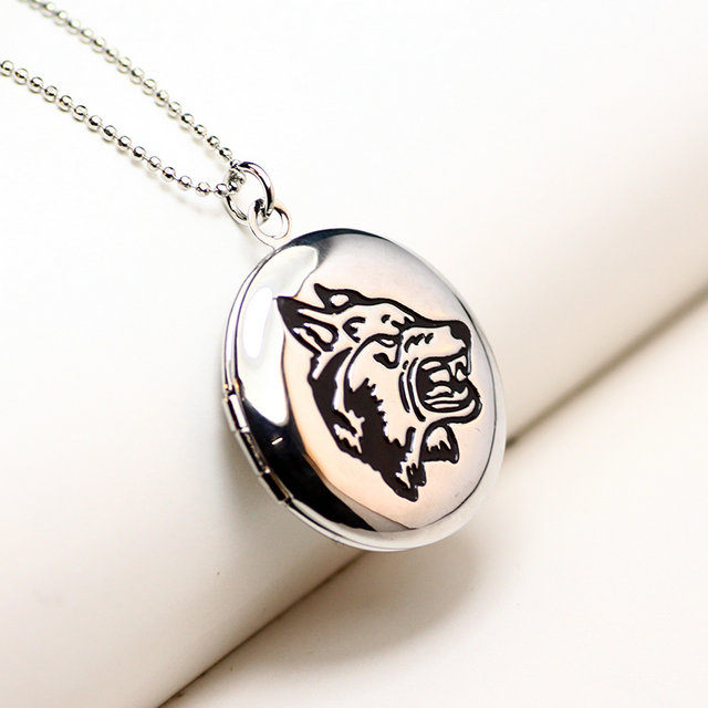 Zavorohin Lovers' Can Put Photo Memory Locket Necklace Wolf Head Pendant Copper Fine Jewelry