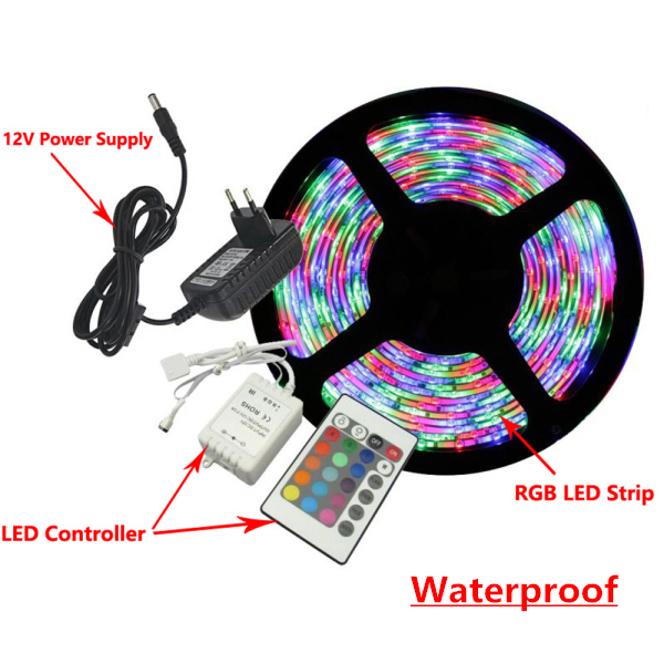 LED Strip Light Waterproof RGB 3528 5M 300 LEDs Flexible Rope Outdoor Decoration Lighting with DC 12V 24W Power Supply Adapter