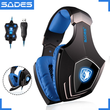 [OPENING PROMOTION] SADES A60 USB 7.1 Cool Gaming Headset wired Game Headphones Vibration Earphones with Microphone for Gamer