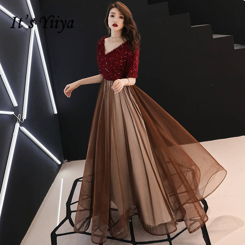 It's YiiYa Evening Dress Wine Red Shining V-neck Long Party Dresses Sequins Tassel Short Sleeve Formal Gown E137