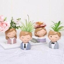 1 pcs Cartoon Flowerpot Plant Pot Lovely Couple Flower Planter Home Garden Mini Bonsai Cactus Wedding Birthday Gift