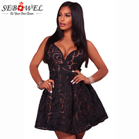 SEBOWEL 2018 Sexy Black Rose Lace Illusion Party Skater Dress Women Spaghetti Strap Club Short Dress