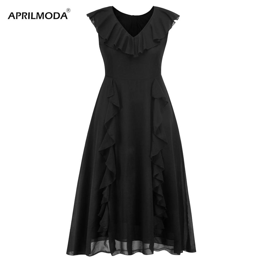 Gothic Kostum Frauen Party Kleid Schwarz Chiffon V Ausschnitt 5xl