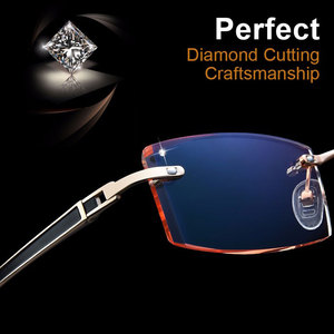 Image 4 - Gmei Optical Phantom trimming titanium eyewear male model diamond trimming Gold rimless finished prescription glassses for Men
