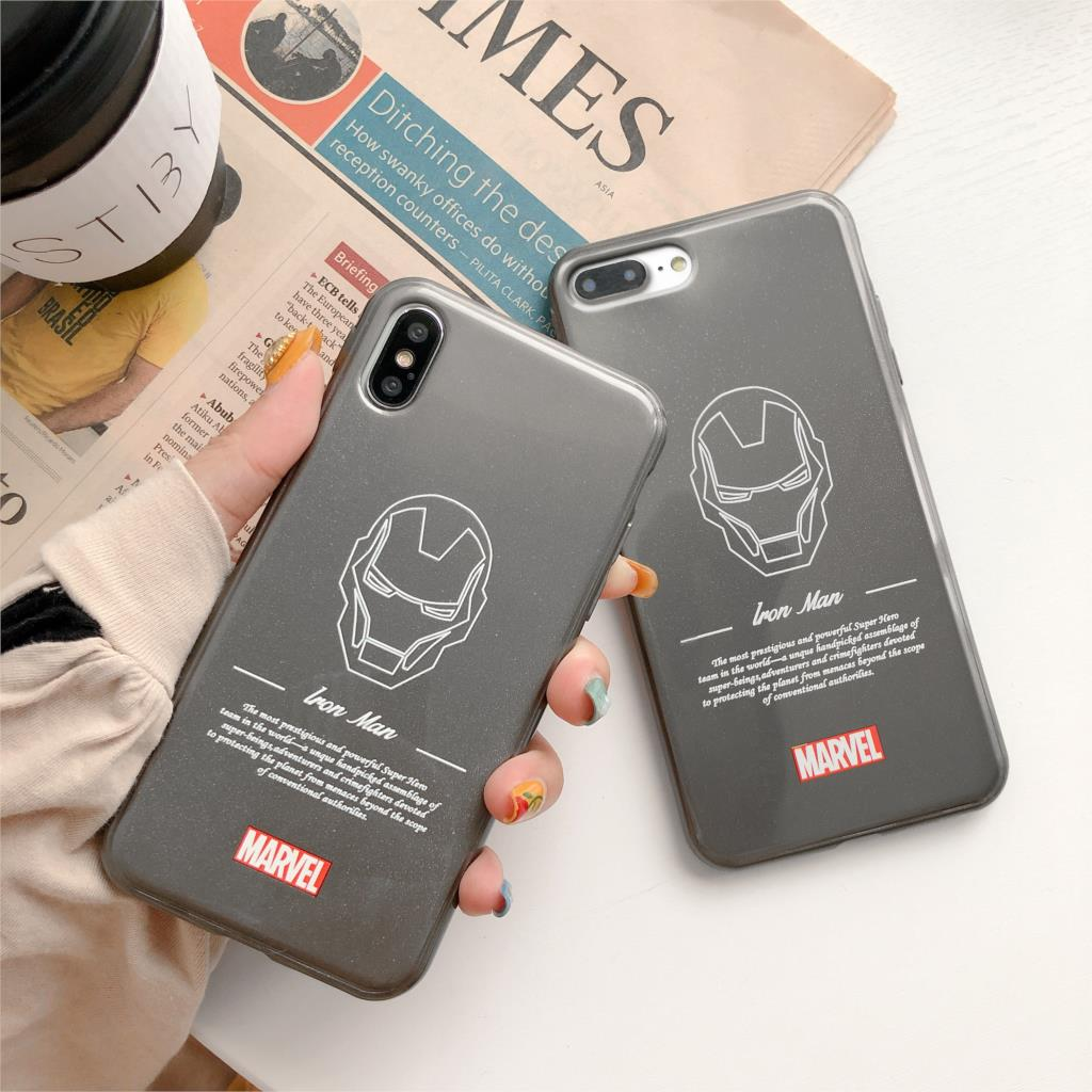 3D Relief Glitter Funda For Iphone X Case Marvel Iron Man Phone Case For Iphone X XR XS Max 6 6S 7 8 Plus Cover Soft TPU Capa