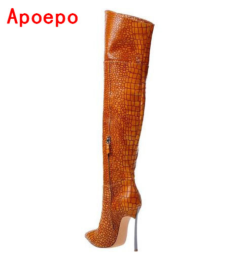 Sexy Croco Pattern Leather Silver-tone Metal Heel Over the Knee Boots Blade Heel Pointed Toe Thigh High Boot Winter Long Boots lucky john croco spoon big game mission 24гр 004