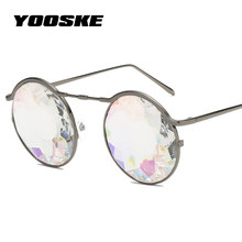 YOOSKE Metal Round Kaleidoscope Glasses Women rave festival Sunglasses Men Holographic Eyewear 2018 Retro Party Cosplay goggles