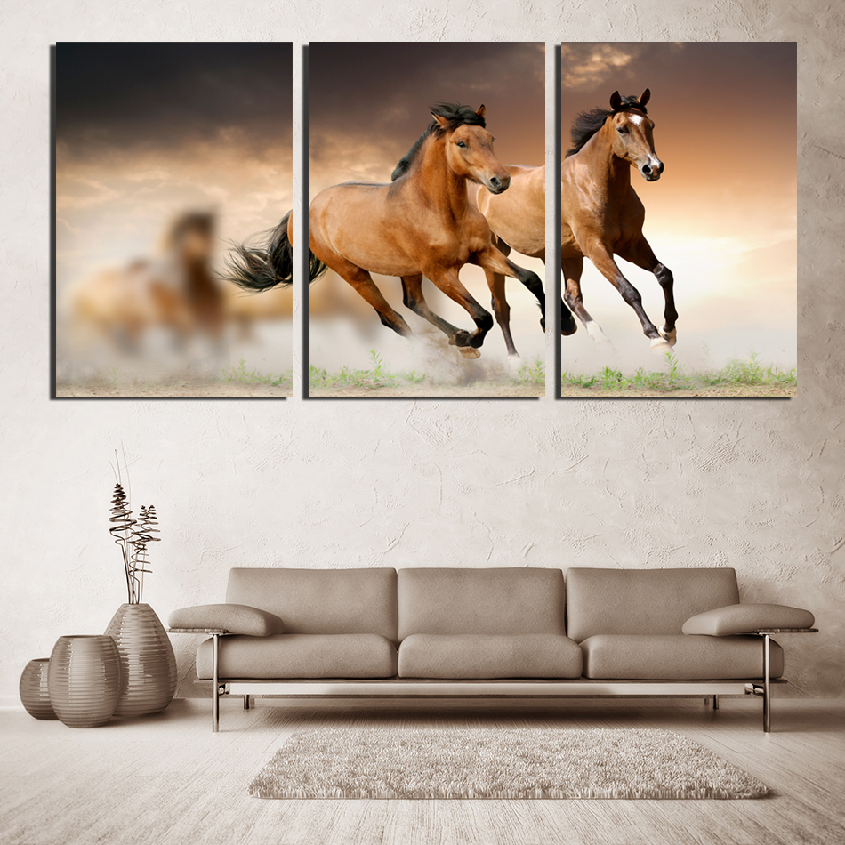 Horse sticker wall art - 3 Pieces Canvas Wall Art Picture Wall Painting Stronger Handsome Horses Such Cool Feeling Home Decor