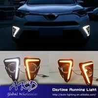 AKD Car Styling for Toyota Rav4 LED DRL for New RAV4 RAV 4 16 17 Turn Signal LED Running Light Fog Light Parking Accessories