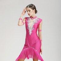 Lady Sexy Sequin Latin Dance Dress Tassel Sequin Latin Dancer Wear Competition Ballroom Dance Dress Vestido