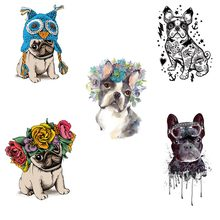 COSBILL 5 Pieces/ Lot Cute PUG Dog Patches Diy Iron On Transfers Sticker Clothes Decoration Washable T-shirt Hoodie Accessory