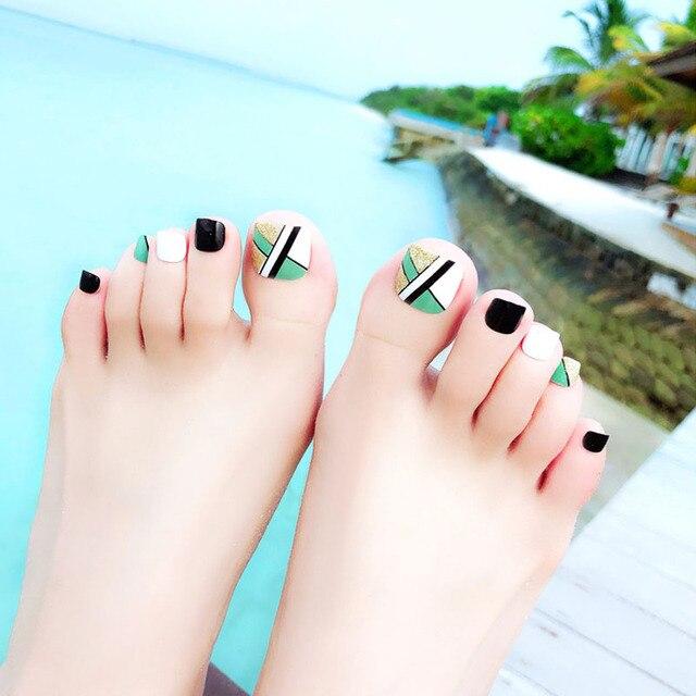 FOCALLURE Makeup 24pcs Women False Toes Nail Color Full Toenail Tips ...