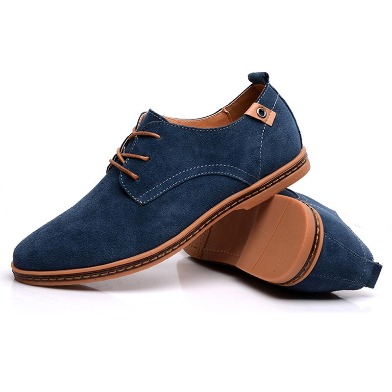 Men Casual Suede Leather Shoes Sping Summer Lace Up Breathable Flat Shoes Work Business Shoes Plus Size 38-48 S5682