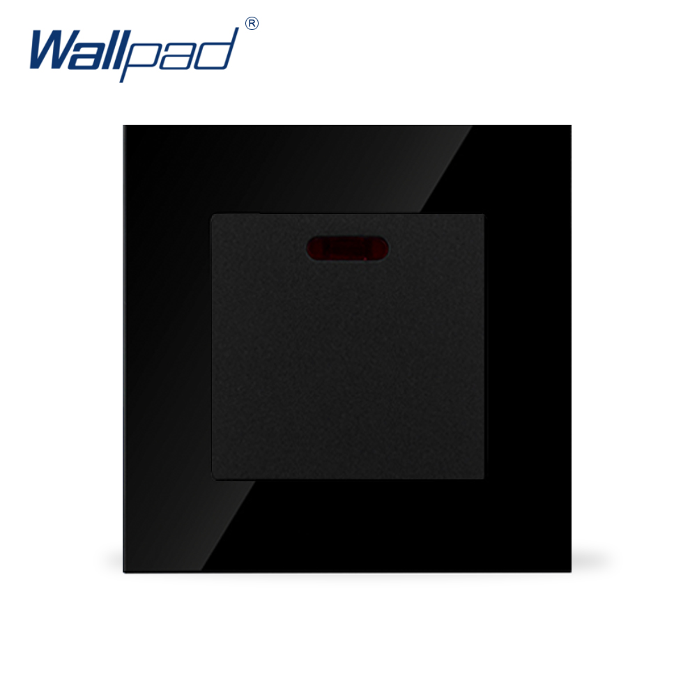 цена на Wallpad 20A Switch Luxury Black Crystal Glass 20A Kitchen Barthroom Heater Wall Switch with Led Light,Free Shipping