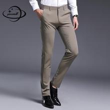 Yauamdb мужские брюки весна осень 29-36 мужские брюки однотонная одежда с карманами на молнии формальная деловая прямая мужская одежда ly81