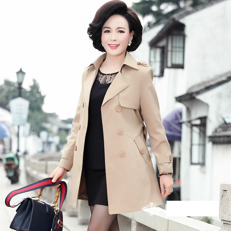 Moyen Manteau dark Lâche Coupe Femmes Kelly Grande Mode vent Veste Hauts Double Khaki D'âge Blue Sac 2019 breasted Taille Outwear xZUSq7x
