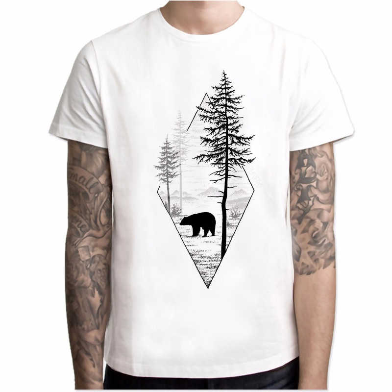 Fashion T shirt men Forest Bear Short Sleeve Casual Printed Black Bear Tee O-Neck mens Harajuku Top tee hipster Short sleeve men
