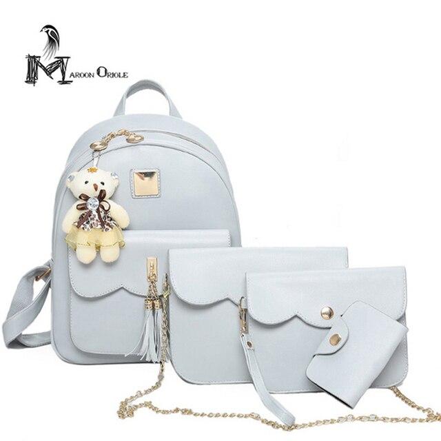 7d2f21837045 Супер качество 4 в 1 Женщины кожаный рюкзак композитный мешки с цепь  сумка/wristle/