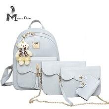 Супер значение 4 в 1 женщины кожа рюкзак композитный мешки с плеча мешок запястье мешок и мешок карточки