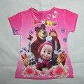 Estilo verão Camisa Das Meninas Da Forma Dos Desenhos Animados Masha Eo Urso Crianças Camisas de T Para Crianças Casuais de Manga Curta T-shirt Crianças Tops