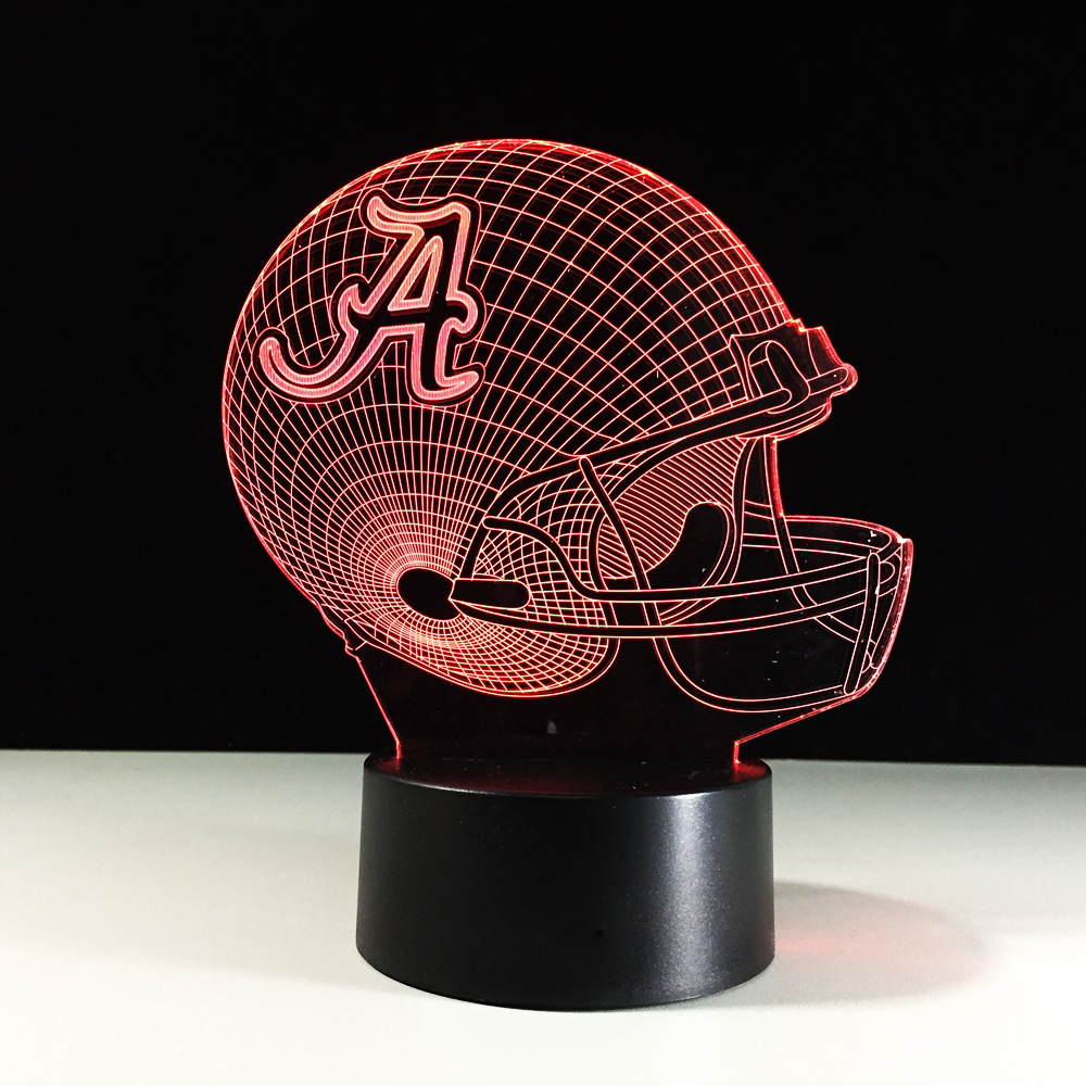3D LED American Football Helmet Shape Lamp Color Changing Rugby Cap Night Light Luminaria Bedroom Sleep Light Sports Fans Gifts