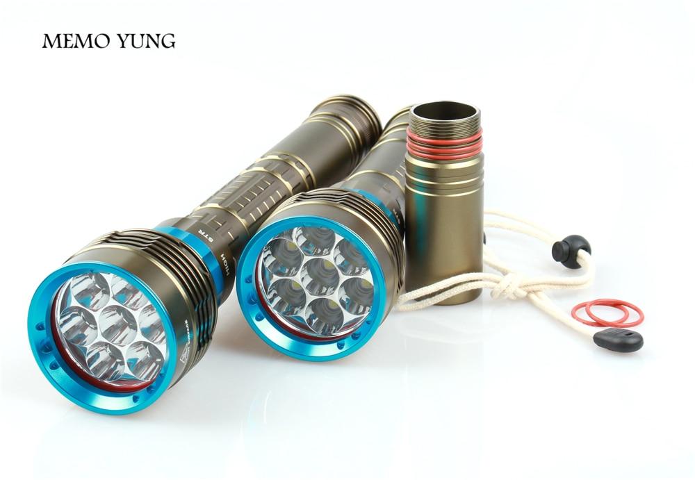 Submarino buceo LED linterna 12000 LM XM-7 * T6 buceador luz de la antorcha para 3x18650 o 26650 batería camping senderismo iluminación