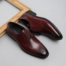 QYFCIOUFU Brand Spring And Autumn Men Business Casual suit shoes Genuine Leather Men Shoes British Fashion Wedding Dress Shoes