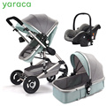 Роскошная детская коляска 3 в 1 с автомобильным сиденьем, высокая Ландшафтная коляска для новорожденных, дорожная система, черная тележка, п...