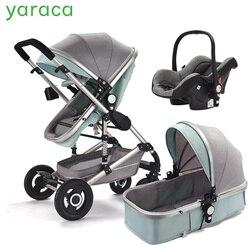 Carrinho de bebê de luxo 3 em 1 com assento de carro alta paisagem pram para recém-nascidos sistema viagem trole preto andando carrinho dobrável