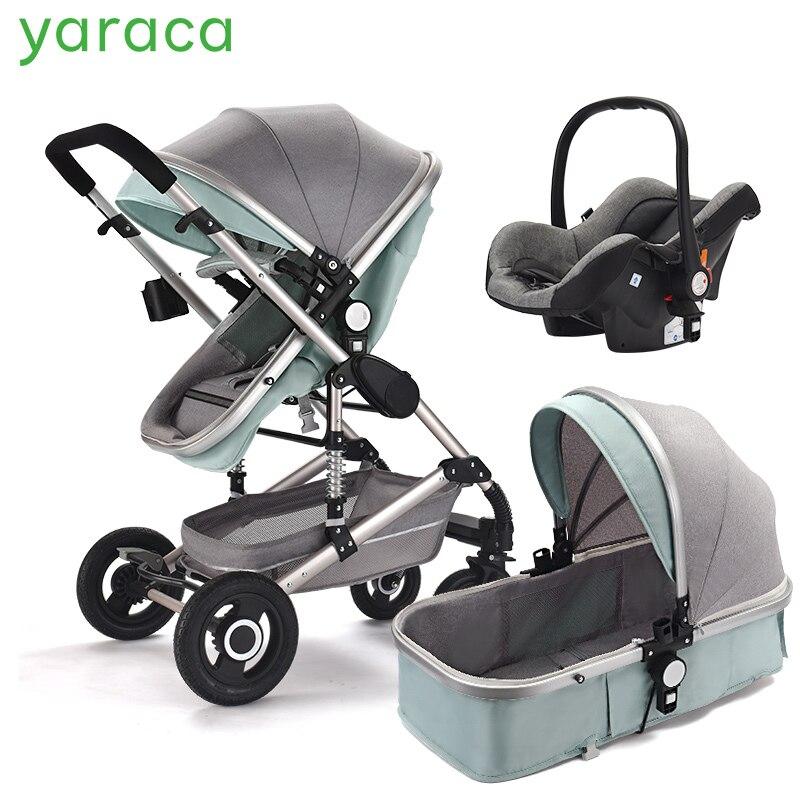 Poussette bébé de luxe 3 en 1 avec siège auto landau haut paysage pour nouveau-né système de voyage chariot noir chariot pliable de marche