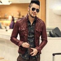 2017 British Style Men Slim Casual Suede Genuine Leather Jacket Metrosexual Man Leather Sheepskin Jacket Autumn