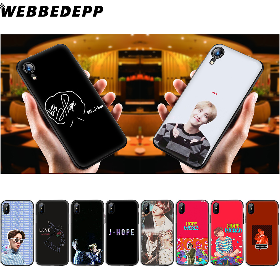 WEBBEDEPP j-hope J hope Soft Silicone Case for iPhone Xr Xs Max X or 10 8 7 6 6S Plus 5 5S SE Phone Case 8 Plus iPhone XR